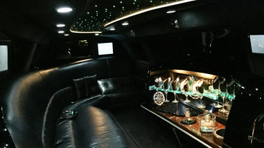 black limo interior at night