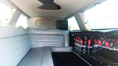 white stretch limo interior