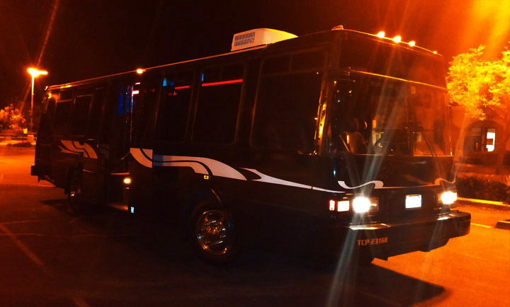 limo party bus at night