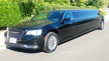 black limo at wedding chapel